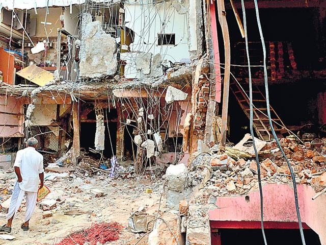 The site of the explosion in Petlawad in Madhya Pradesh. The CRPF has recovered more than 55,000 kg explosives from areas affected by Left Wing Extremism in the past five years (AFP Photo)