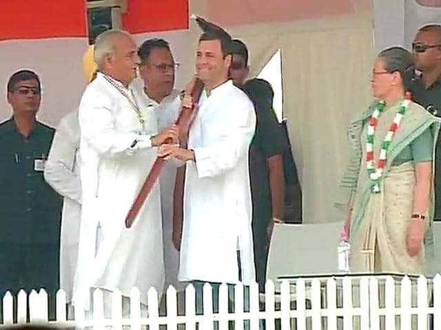 Congress vice president Rahul Gandhi at 'Kisaan mazdoor samman rally' in Delhi. (ANI Photo)