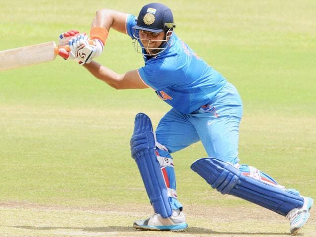 India A player Suresh Raina in action during the third unofficial ODI against Bangladesh A at Chinnaswamy Stadium in Bengaluru on September 20, 2015. (PTI Photo)