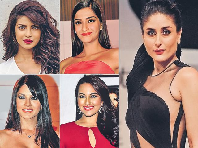 Clockwise from top left: Priyanka Chopra, Sonam Kapoor, Kareena Kapoor, Sonakshi Sinha, Sunny Leone. The ladies are all turning producers for films.
