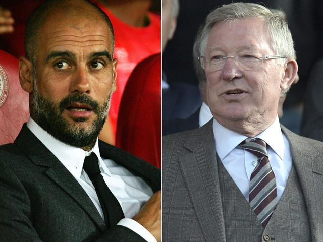 A composite photograph of former Manchester United manager Sir Alex Ferguson, right, and Bayern Munich manager Pep Guardiola. (EPA/AFP Photo)