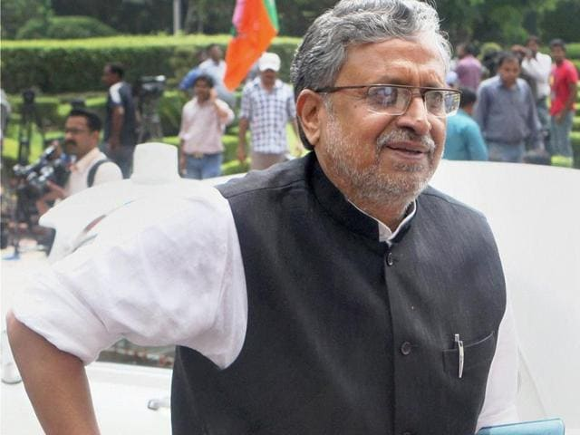 Sushil-Modi-arrives-for-the-Party-s-National-Election-Campaign-Committee-meeting-PTI