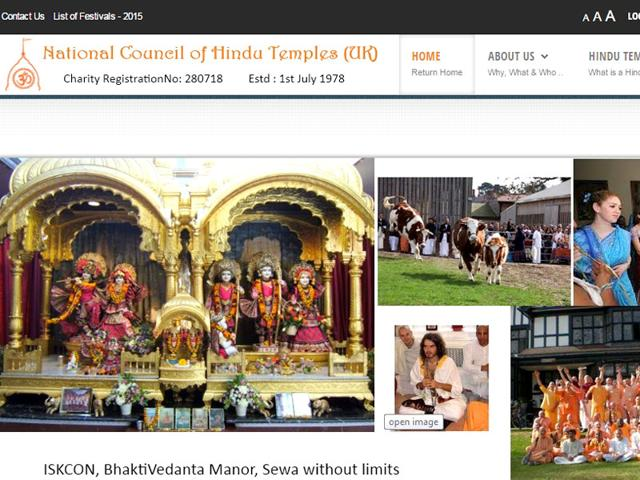A screen shot of the website of National Council of Hindu Temples.