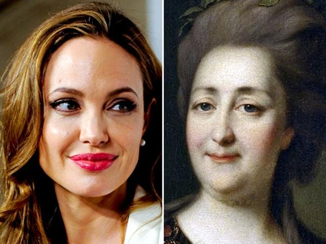 Angelina Jolie (left) is planning to make a biopic on Russian ruler of 18th century, Catherine the Great. (AP photo)