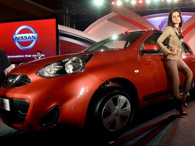 Bollywood actress Kangana Ranaut during the launch of Nissan India's Limited Edition Micra in Mumbai on Tuesday. Photo: PTI