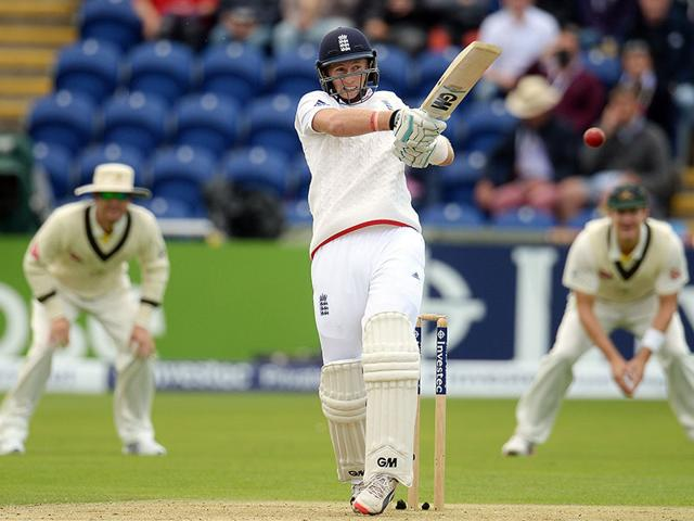 England's Joe Root hits a shot on the first day of the first Test of The Ashes Test series against Australia at Cardiff, Wales on July 8, 2015. Root scored 134 to help England recover from 88/3 to end the day at 343/7. (Reuters Photo)