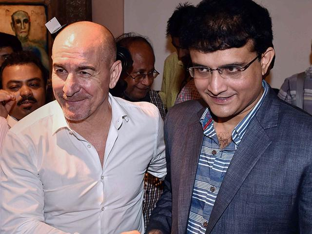 Atletico de Kolkata team co-owner Sourav Ganguly and head coach Antonio Habas at the launch of the team's new jersey in Kolkata on Wednesday, July 8, 2015. (PTI Photo)