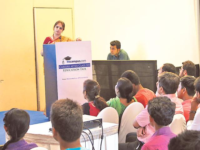 Representatives from various institutes briefed students about job prospects in various fields.