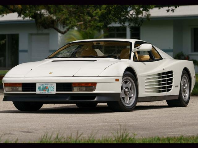 The 1986 Ferrari Testarossa from Miami Vice will be auctioned in August. Photo:AFP