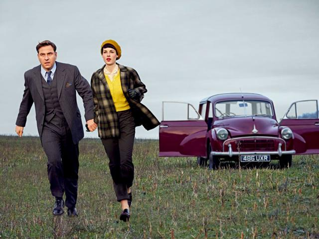 Promotional image from BBC's new series Tommy and Tuppance starring David Walliams and Jessica Raine. (BBC)