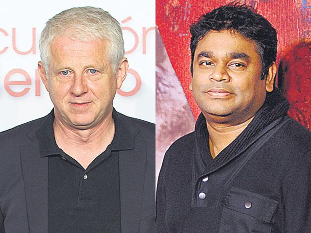 British filmmaker Richard Curtis (left), best known for hits like Bridget Jones Diary and Notting Hill, is keen to rope in musician AR Rahman (right) for his project. (HT File)