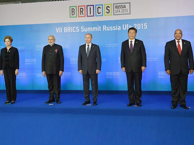 Leaders of Brazil, Russia, India, China and South Africa at the BRICS summit in Russia in 2015. This year, India host the Brics summit for the second time after 2012.(PTI File Photo)