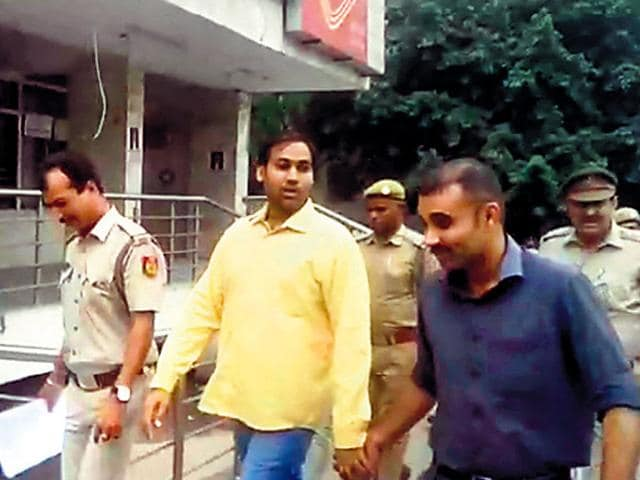 Manoj Kumar, AAP's MLA from Kondli, was arrested in connection with a case of cheating and forgery registered last year. (TV screengrab)