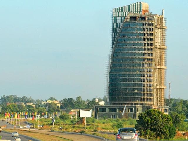 The Omaxe building in New Chandigarh. (HT Photo)