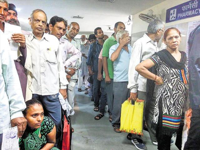 There's always a long queue for medicines at GB Pant hospital. (Saumya Khandelwal/HT Photo)