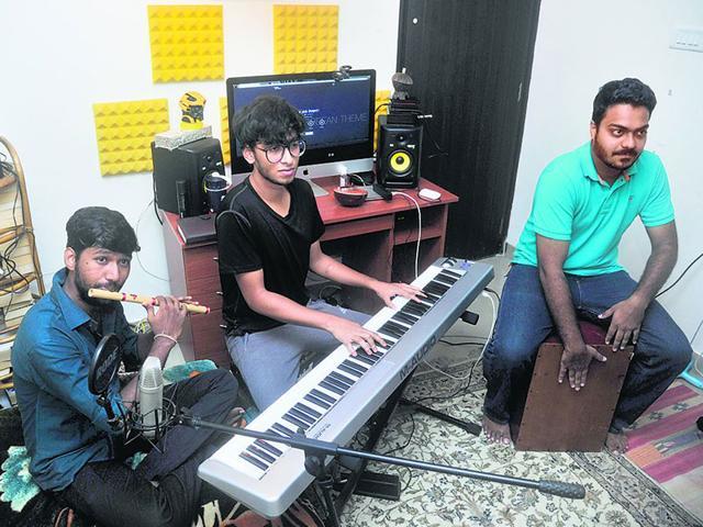 The Indian Jam Project during an impromptu jam session. (Vidya Subramanian/HT photo)
