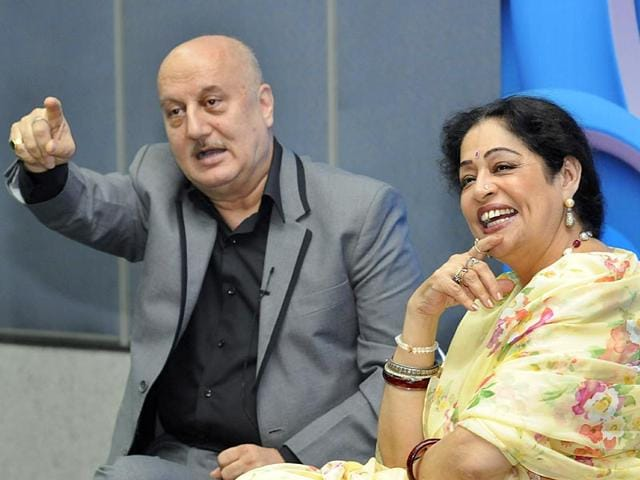 Chandigarh MP Kirron Kher laughs her heart out as her husband, veteran Bollywood actor, Anupam Kher, looks on during an interview session organised by the CII in Chandigarh on THursday. (Gurpreet SIngh/HT Photo)