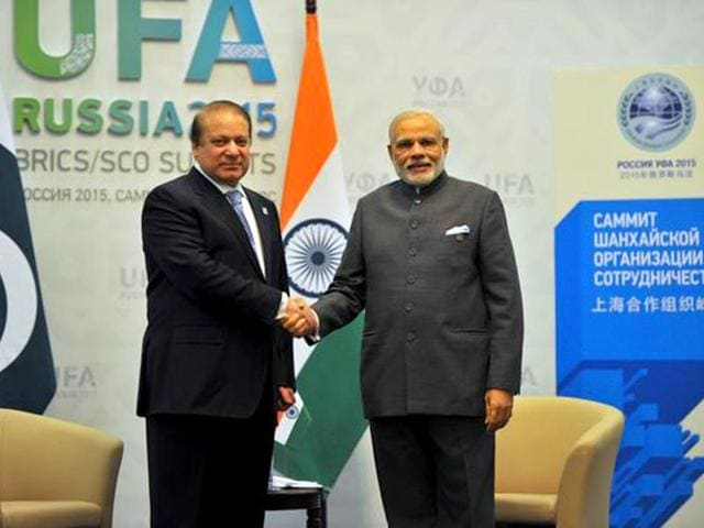 Indian Prime Minister Narendra Modi shakes hands with his Pakistani counterpart Nawaz Sharif ahead of bilateral talks in Russia's Ufa on Friday. (Photo: PIB)