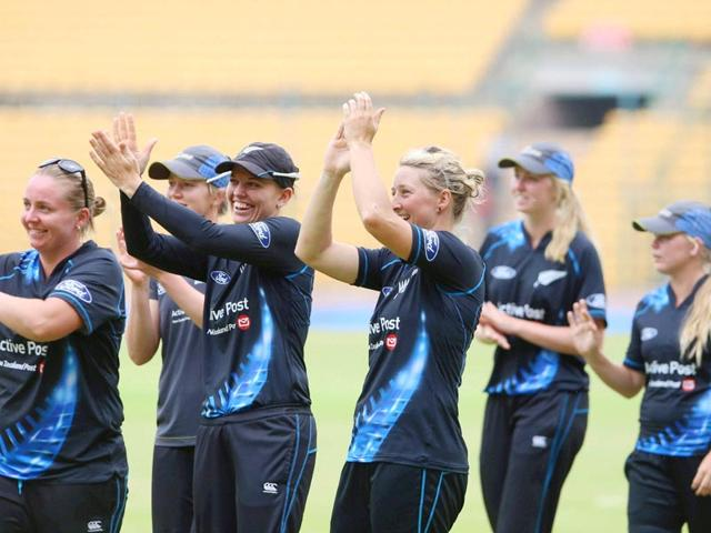 New Zealand women cricketers celebrate after beating India in the first T20 match between the two teams in Bengaluru on July 11, 2015. (PTI Photo)