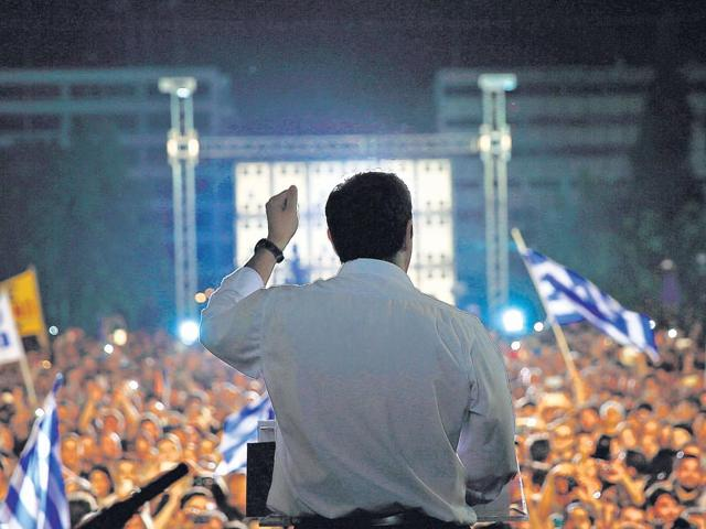 Greek Prime Minister Alexis Tsipras addresses an anti-austerity rally in Athens on July 3, 2015. Tsipras urged voters to ignore European scaremongering and vote 'No' for the July 5 referendum. (AFP Photo)