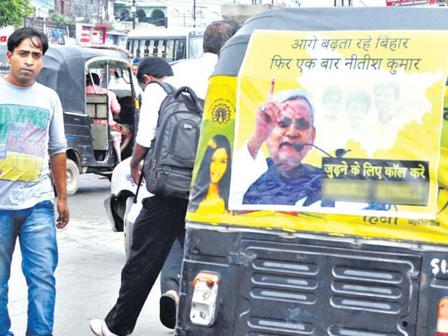 Autorickshaws in Bihar have become the latest mode of political canvassing as they not only cost less but also ensure better visibility. (Santosh Kumar/HT Photo)