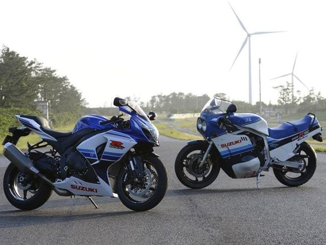 The anniversary edition GSX-R 1000 next to the 1985 original. Photo:AFP