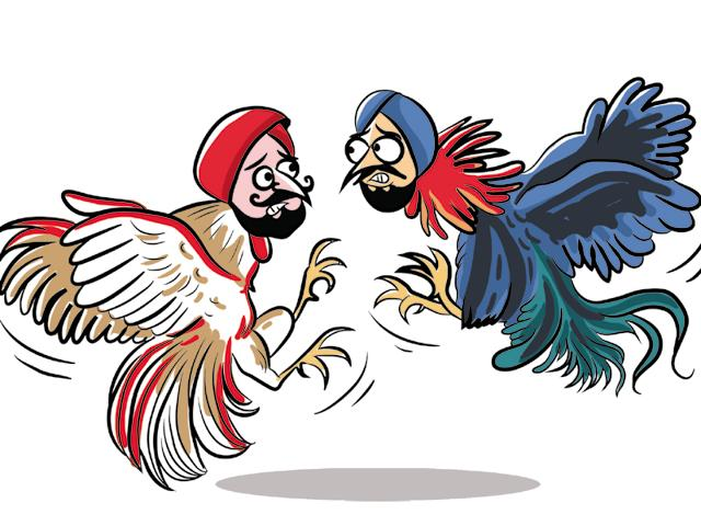 Badal said that people in a profession generally supoprted one another unlike politicians who fight like kukkads (cocks) (Illustration Daljeet Kaur Sandhu/HT)