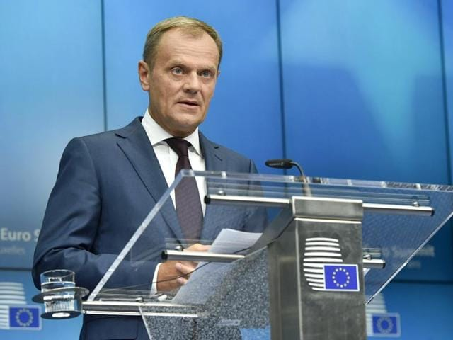 EU president Donald Tusk said that eurozone leaders had reached a unanimous deal to offer Greece a third bailout and keep it in the euro. (AFP Photo)
