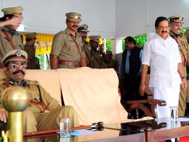 Additional DGP Rishiraj Singh could face action for not saluting state home minister Ramesh Chennithala. (HT Photo)