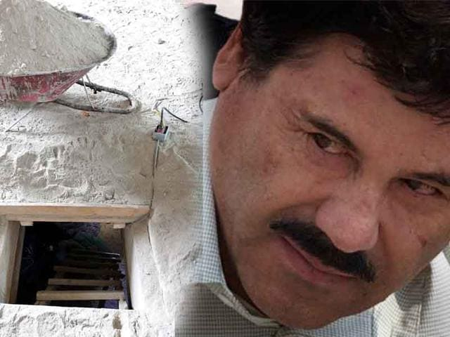 A handout picture shows the alleged end of the tunnel through which Mexican drug lord Joaquin