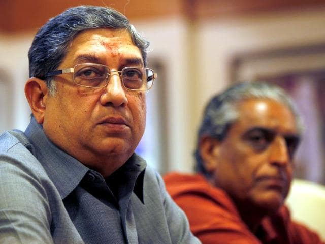 Tainted ICC supremo N Srinivasan has been at the centre of the IPL controversy.(HT File Photo)