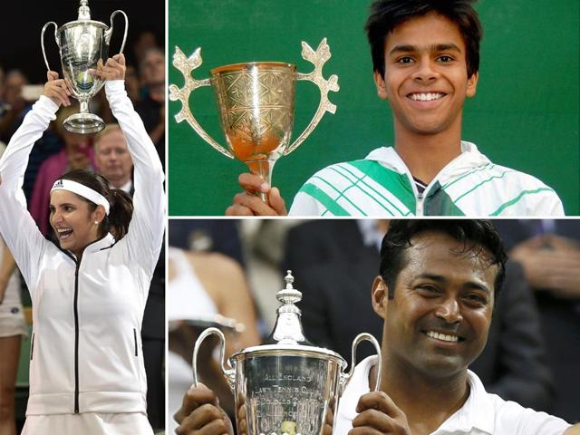 Leander Paes, Sania Mirza, and Sumit Nagal all triumphed at Wimbledon 2015, with India's haul of trophies totalling three (HT Photo)