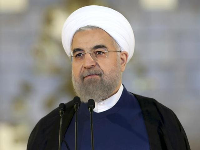 Iran's President Hassan Rouhani addresses the nation in a televised speech after a nuclear agreement was announced. (AP Photo)