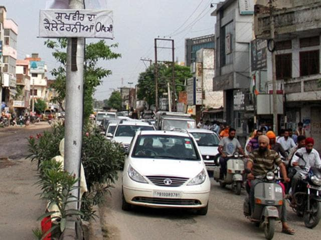 Hoarding at Samrala road. JS Grewal/HT