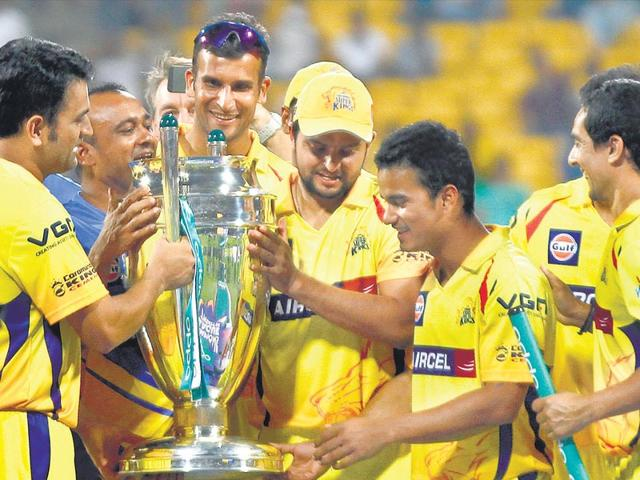 Chennai Super Kings, seen here with the 2014 CLT20 trophy, have been one of the most successful T20 teams. They won't be seen for two years. (Ajay Aggarwal / HT File)