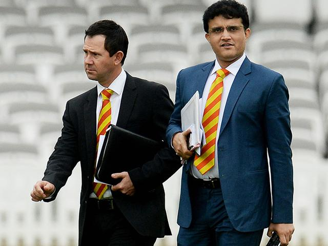 Marylebone Cricket Club (MCC) World Cricket Committee's newest members Ricky Ponting and Sourav Ganguly before the committee meeting on July 13-14, 2015. (Reuters Photo)