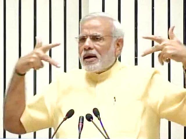 Prime Minister Narendra Modi at the launch of Skill India Mission in Delhi. (@ANI_news/Twitter)