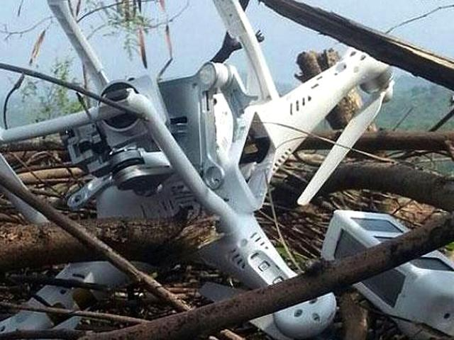Pakistan summoned the Indian high commissioner on Thursday after an alleged spy drone was shot down in PoK although a picture purportedly of the downed airplane showed a small lightweight model of a type widely available for commercial purchase. (Picture credit: DunyaNews Twitter @DunyaNews)