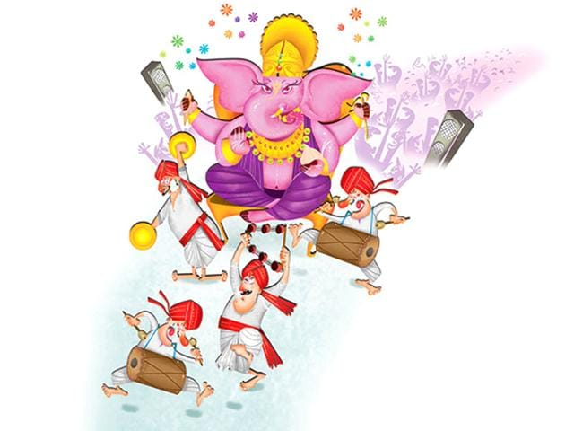 For the hardcore Mumbaiite, the year isn't complete without a visit to Lalbaugcha Raja, even if this means standing in a queue that snakes all the way out of the narrow lane and out on to the main road. (Illustration: Siddhant Jumde)