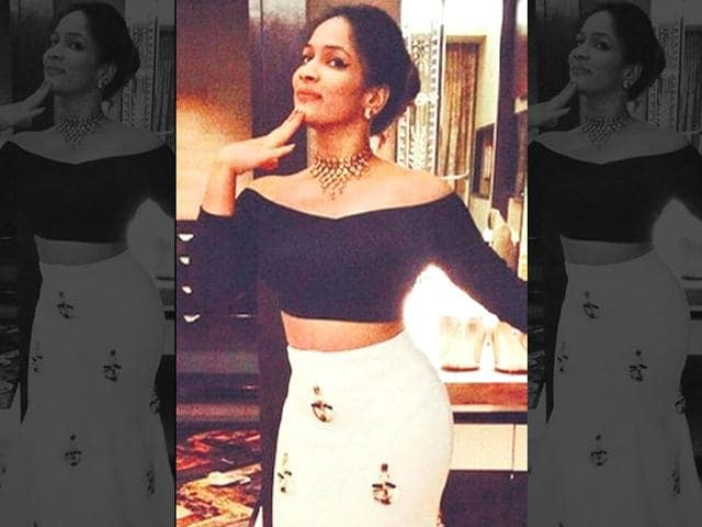 Indie off-shouldering: Designer Masaba Gupta slays in her cropped take on a off-shoulder top paired with lehenga-esque skirt.