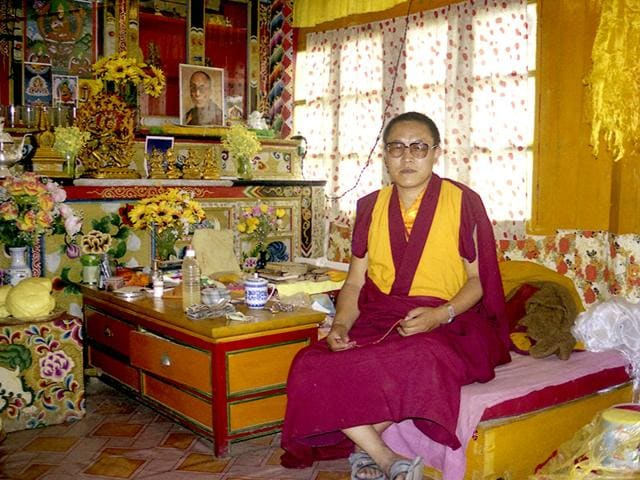 This photo taken in June 1999 and released by Tsering Woeser on July 13, 2015, shows Tibetan lama Tenzin Delek Rinpoche in his home in Nyagqu County in the Garze Tibetan Autonomous Prefecture in southwestern China's Sichuan province. (AP)