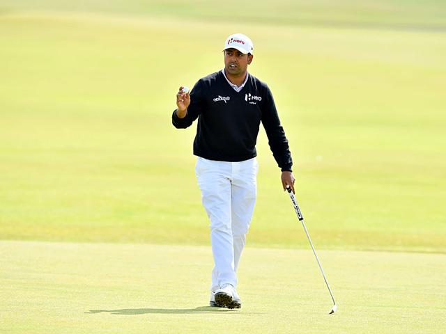 Anirban Lahiri reacts after making his birdie putt on the 1st green during his second round 70, on day two of the 2015 British Open Golf Championship on The Old Course at St Andrews in Scotland, on July 17, 2015. (AFP Photo)