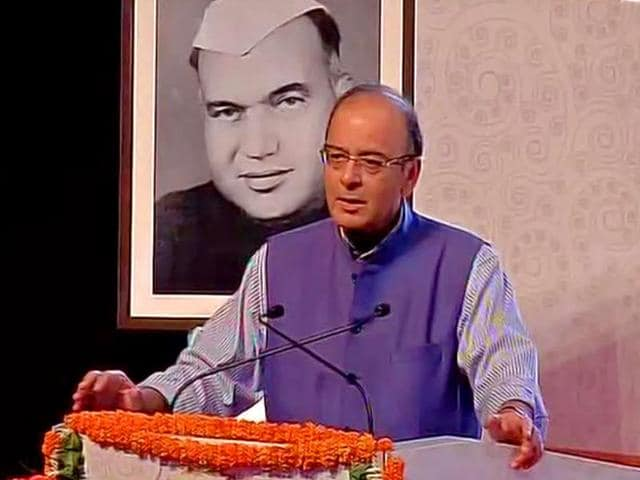 Finance minister Arun Jaitley speaking at the centenary celebrations of Girdhari Lal Dogra in Jammu. (ANI Photo)