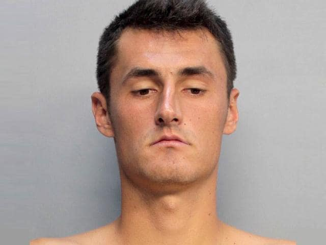 A mug shot of Australian tennis player Bernard Tomic from the Miami Beach Police Department. Tomic is facing charges of resisting arrest and trespassing after police said he refused to turn down the music and disobeyed police at a hotel penthouse party. The 22-year-old was arrested and later released on $2,000 bail. (AFP Photo)