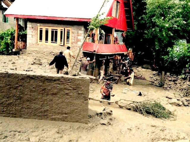 Rescue efforts continue after a cloudburst struck the Srinagar-Leh road in Sonamarg area of Kashmir on Thursday. (PTI Photo)