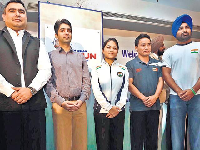 From left: Gagan Narang, Abhinav Bindra, Apurvi Chandela, Jitu Rai and Gurpreet Singh are leaving nothing to chance in their bid to make a mark at the 2016 Rio Olympics. (HT Photo)