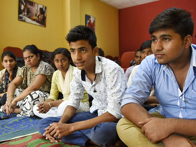 An NGO, Asha, working with underprivileged children from slums of Delhi provide assistance to these students to achieve well in higher education by enabling them to handle their studies and lives better. (Photo by Saumya Khandelwal/ Hindustan Times)