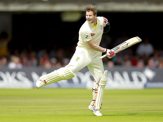 Australia's Steven Smith celebrates his maiden double century, at Lord's on July 17, 2015. (Reuters Photo)