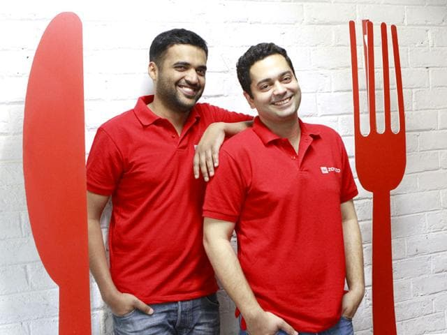 Zomato founders Deepinder Goyal and Pankaj Chaddah at their office in Gurgaon. (Sanjeev Verma/ HT Photo)