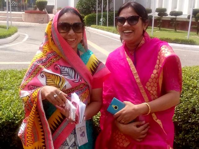 A tale of two sisters: Anjana Meghwal (L) gave up RAS to keep her position as Jaisalmer Zila Pramukh while Prem Dhande (R), also a politician, opted for the civil service.